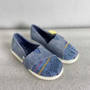 TOMS Tiny Classic Embroidery Blue Denim Shoes